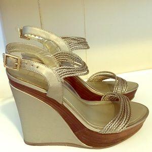BCBG Gold Sandals 7.5 worn once